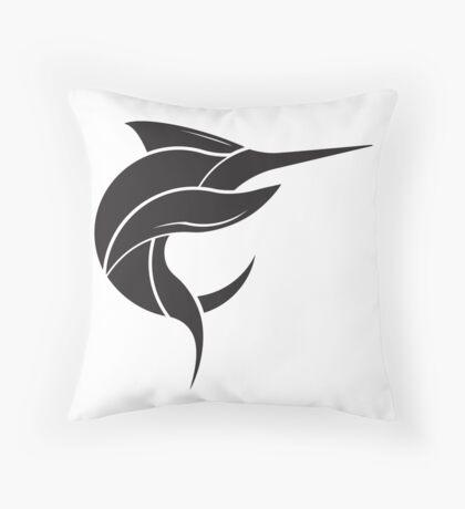 Black Marlin Blog Logo - Black on White Throw Pillow
