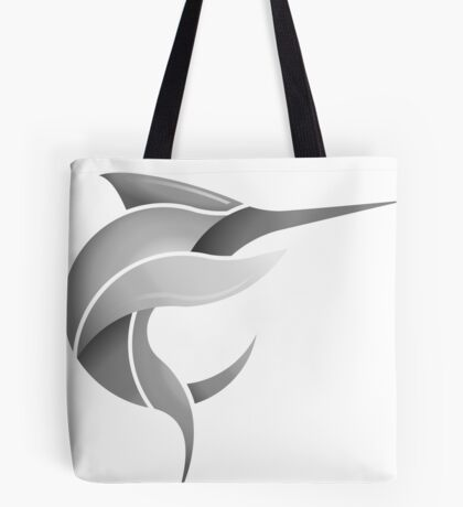 Black Marlin Blog Logo - Grey on White/Black Tote Bag
