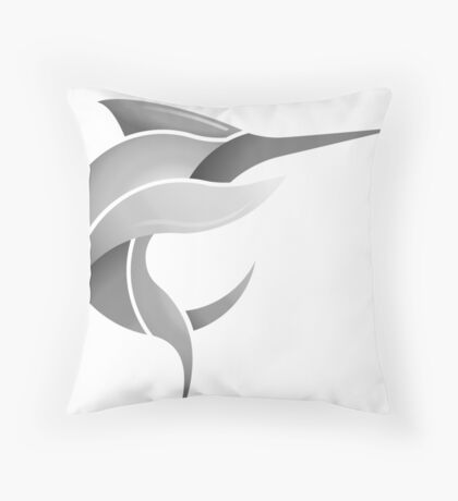 Black Marlin Blog Logo - Grey on White/Black Throw Pillow