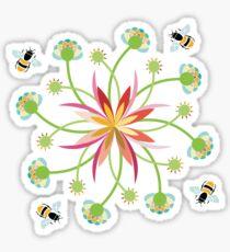 Honey Bees in a Flower Garden Sticker