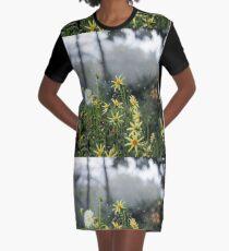 Dahlia Garden in a Thunder Storm  Graphic T-Shirt Dress