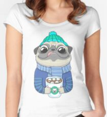 Pug with coffee Women's Fitted Scoop T-Shirt
