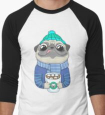 Pug with coffee Men's Baseball ¾ T-Shirt