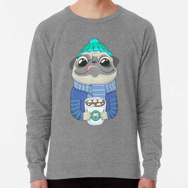Pug with coffee Lightweight Sweatshirt