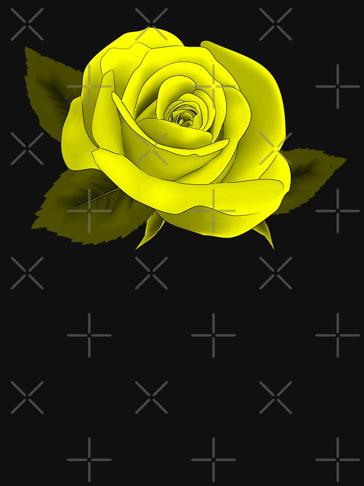 2017 TREND |SINGLE YELLOW NEON ROSE ON BLACK by ozcushionstoo