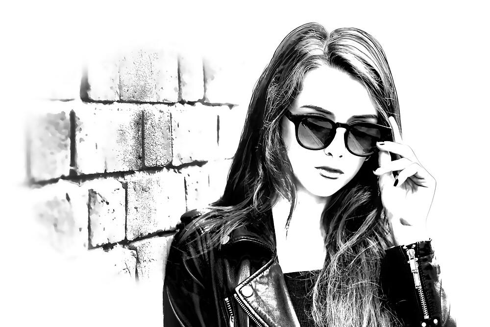 Girl with long hair near an old brick wall by Dobrydnev