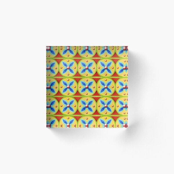 Heraldic Quartrefoil Stripe Acrylic Block