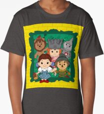 """Wizard of Oz"" Kawaii, Yellow, Brick, Road, Emerald, Green, Dorothy, Ruby, Slippers, Toto, Cowardly Lion, Scarecrow, Tin Man, Basket, Purse, Gingham, Blue, Splatter, Paint  Long T-Shirt"