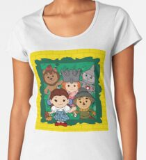 """Wizard of Oz"" Kawaii, Yellow, Brick, Road, Emerald, Green, Dorothy, Ruby, Slippers, Toto, Cowardly Lion, Scarecrow, Tin Man, Basket, Purse, Gingham, Blue, Splatter, Paint  Women's Premium T-Shirt"