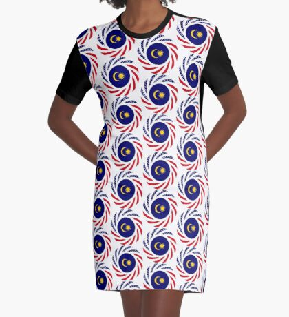 Malaysian American Multinational Patriot Flag Series Graphic T-Shirt Dress