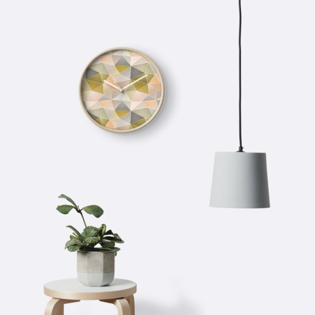 Abstract geometric polygon in gray, beige, green tones. by marinaklykva