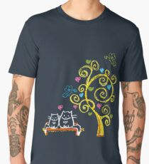 Two love cats and tree with hearts Men's Premium T-Shirt