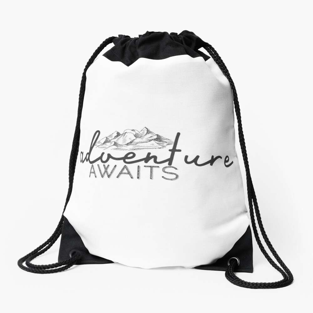 Adventure Awaits Drawstring Bag Front