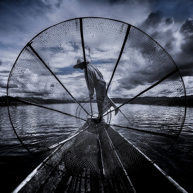 Burmese Net Fisherman - Travel fine art Photographic Print by Glen Allison