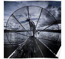 Burmese Net Fisherman - Poster by Glen Allison
