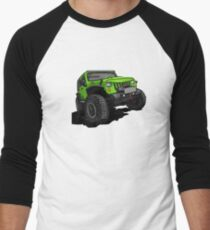 Green Jeep Wrangler Rubicon SUV Cross-country Men's Baseball ¾ T-Shirt