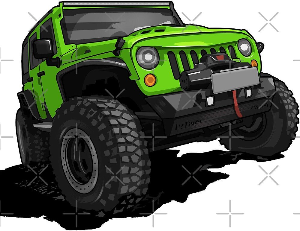 Green Jeep Wrangler Rubicon SUV Cross-country by xEver