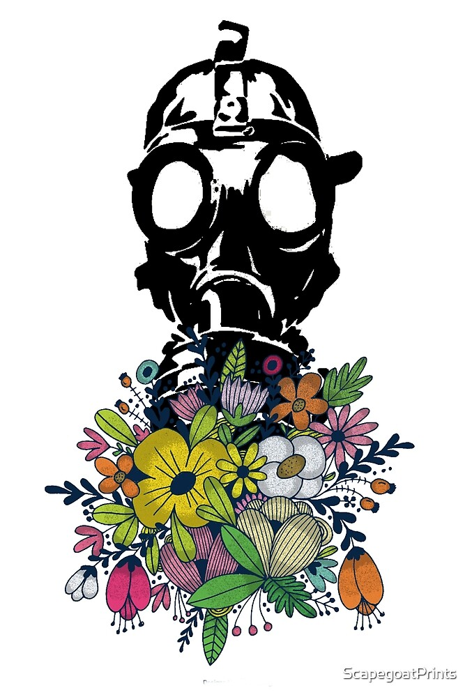 gas mask smelling colorful bouquet of flowers print by ScapegoatPrints