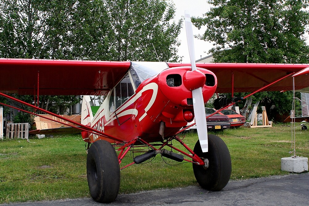 Red and white aircraft, Alaska by FranWest