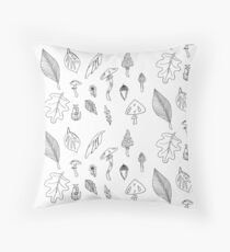 Black and White Nature Print of Leaves and Mushrooms Throw Pillow