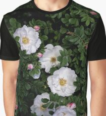 White Roses on a Bed of Black and Green  Graphic T-Shirt