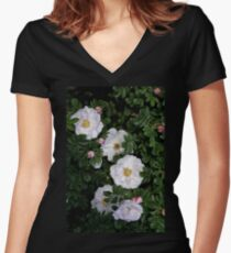 White Roses on a Bed of Black and Green  Women's Fitted V-Neck T-Shirt
