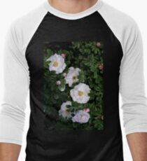 White Roses on a Bed of Black and Green  Men's Baseball ¾ T-Shirt