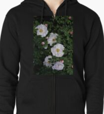 White Roses on a Bed of Black and Green  Zipped Hoodie