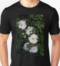 White Roses on a Bed of Black and Green  Unisex T-Shirt
