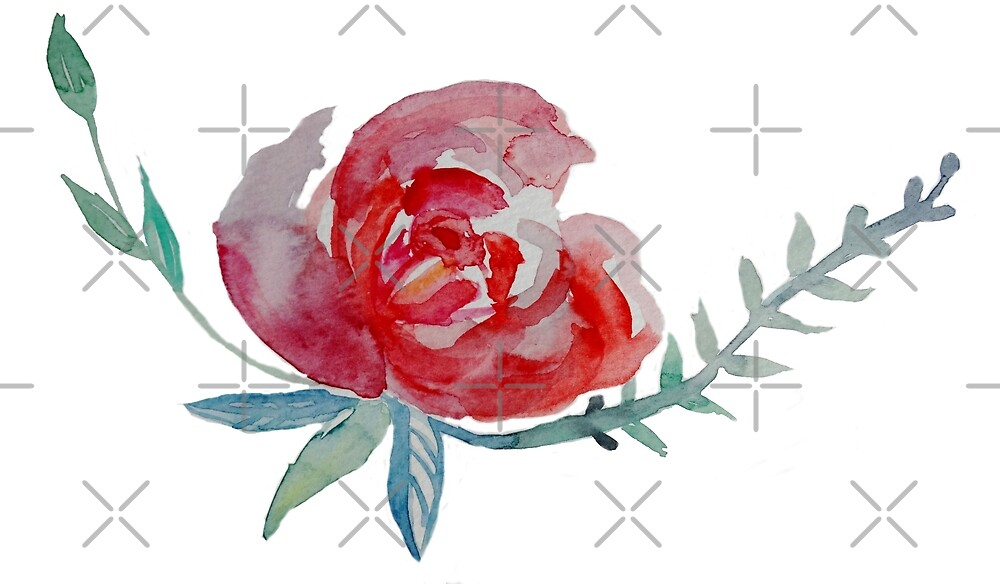 Red Rose Watercolor art  by Manitarka