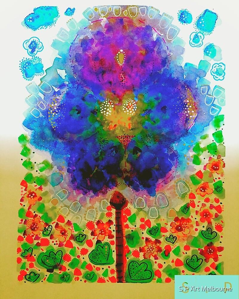 Funky Cosmic Violet Garden by S P Ärt Melbourne