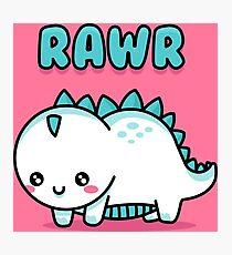 Adorable White Little Dino Rawr - Children Doodle Cartoon Photographic Print