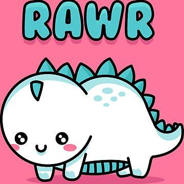 Adorable White Little Dino Rawr - Children Doodle Cartoon by DoodleJourney