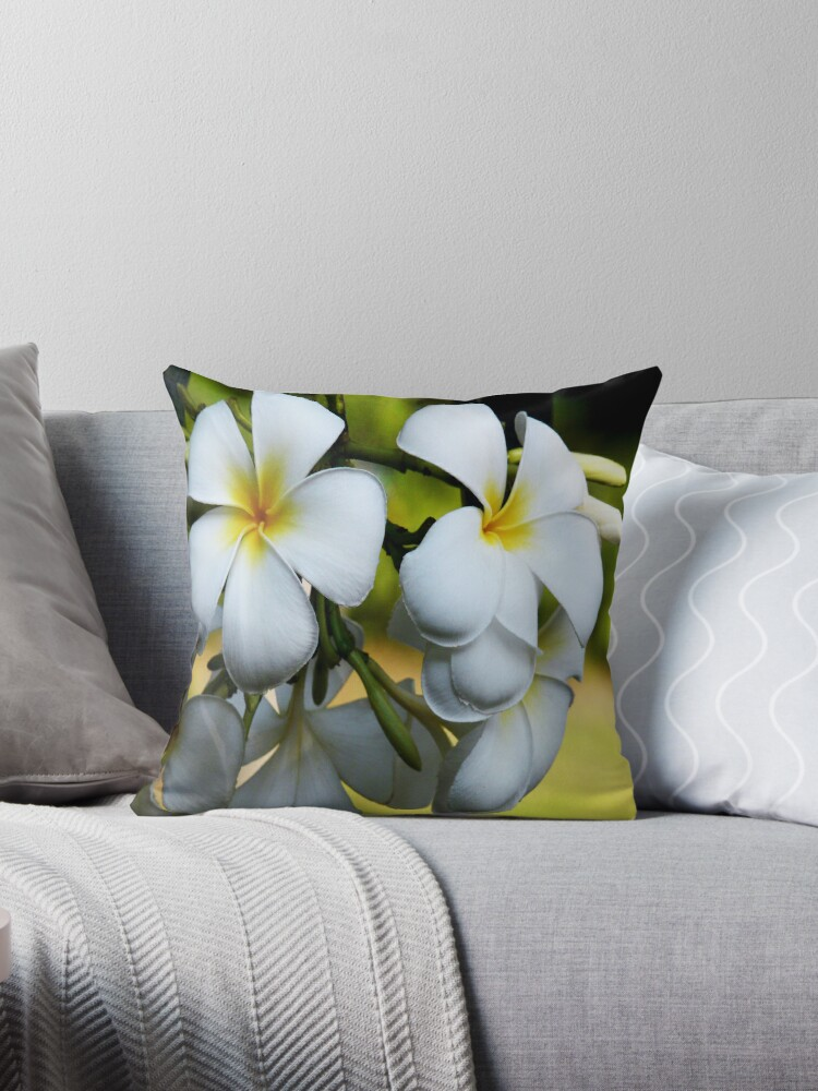 "Singapore White Frangipani"" Throw Pillows by JulieM"