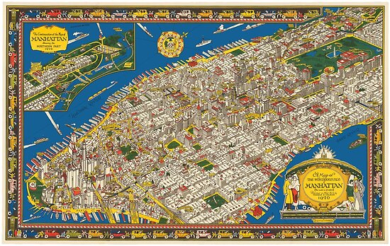 A Map of The Wondrous Isle of Manhattan by vintagetravel
