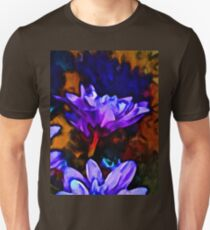 Lavender and Cobalt Blue Flower with some Brown T-Shirt