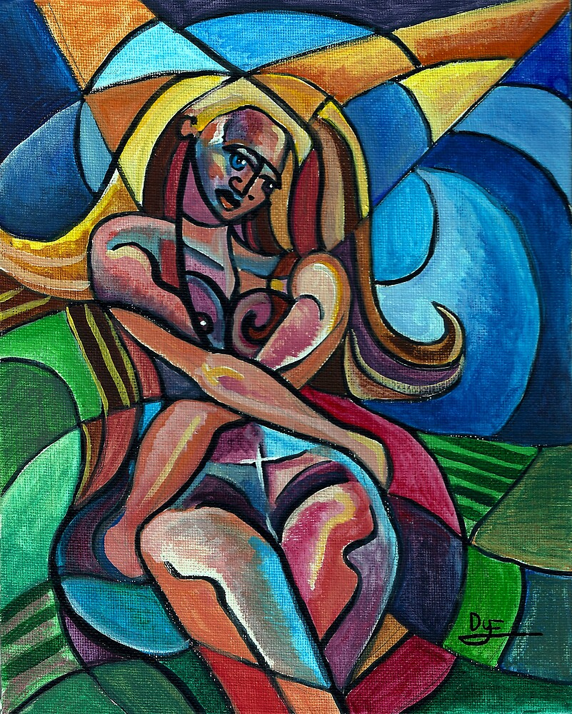 Lovelorn Female Nude (Ink and Acrylics)- by Robert Dye