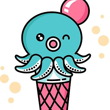 Octopus Ice Cream - Kawaii Sweet Squid Japan Anime by DoodleJourney
