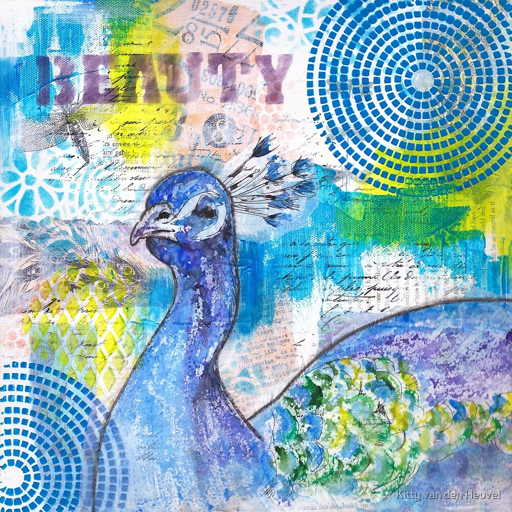 Beauty proud as a peacock mixed media collage by Kitty van den Heuvel