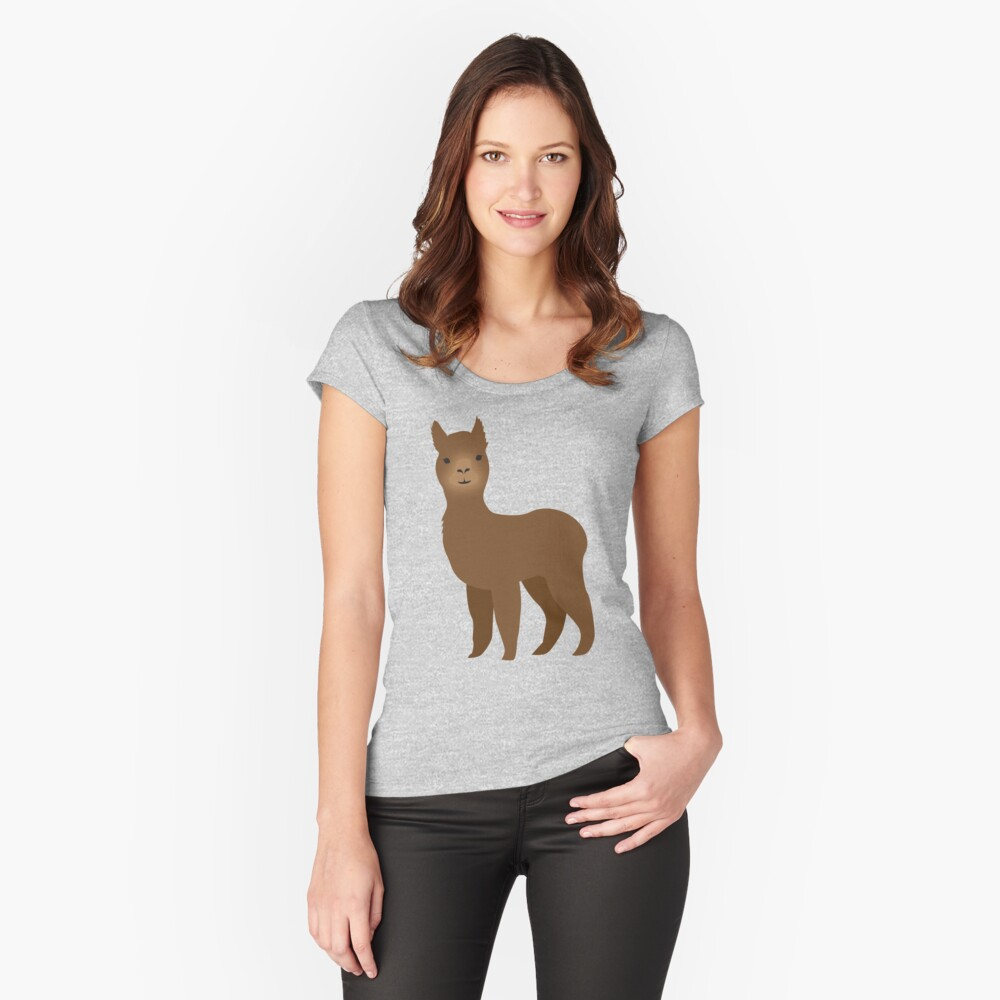 Brown Alpaca Women's Fitted Scoop T-Shirt Front