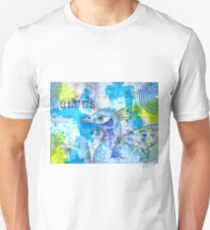 Blues - Peacock in mixed media collage T-Shirt
