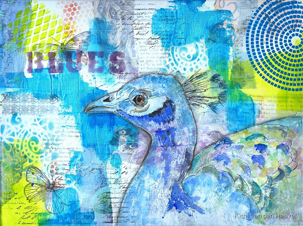 Blues - Peacock in mixed media collage by Kitty van den Heuvel