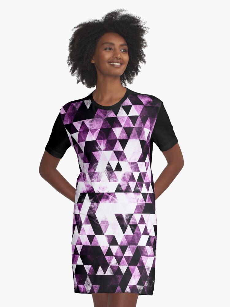 Triangle Geometric Vibrant Pink Smoky Galaxy Graphic T-Shirt Dress Front