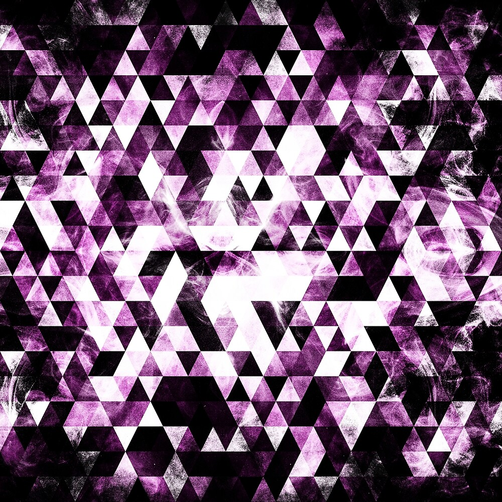 Triangle Geometric Vibrant Pink Smoky Galaxy pattern by PLdesign