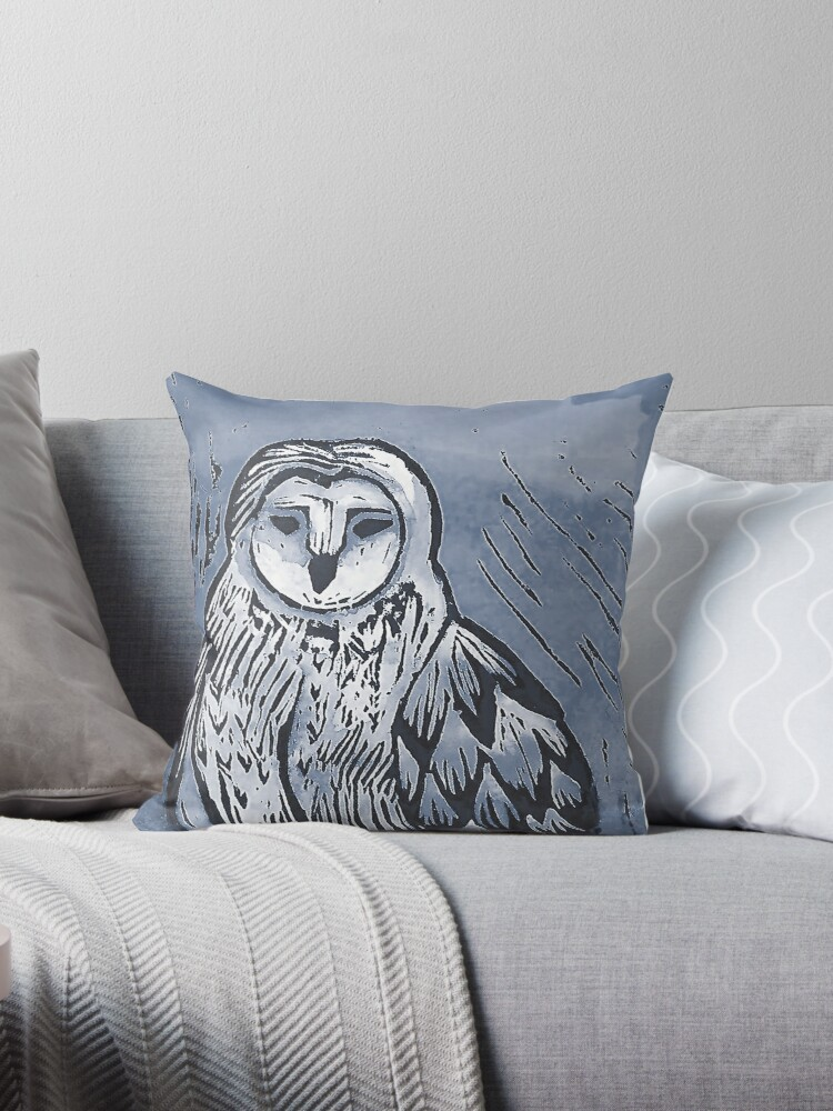Blue Owl lino nature print by Krystal Dales