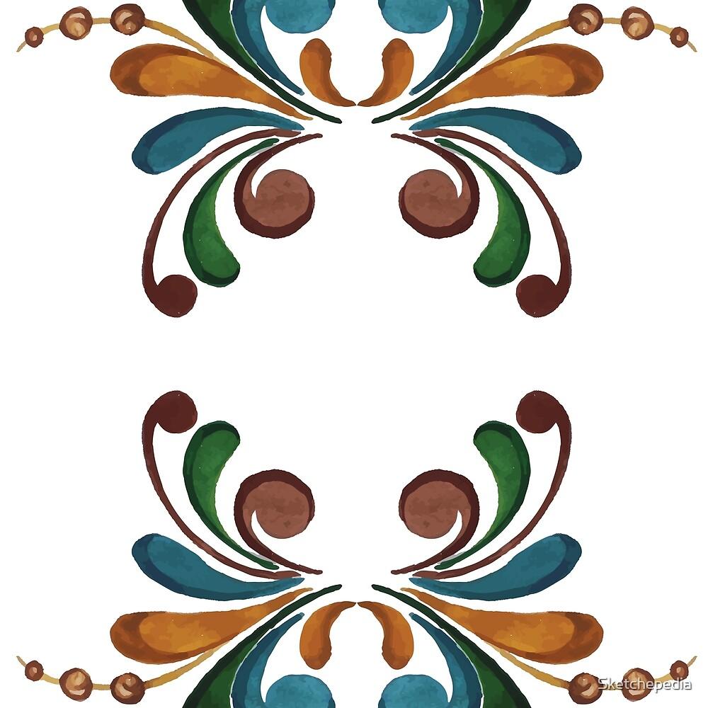 Colorful Watercolor Ornamental Pattern by Sketchepedia