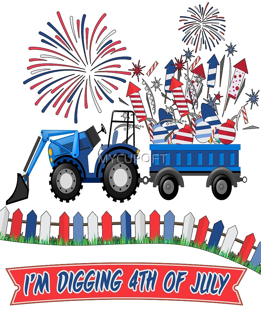 Funny Kids Fireworks Independence Day Digging 4th Of July T-Shirt  by MYCUPOFT