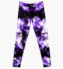 Electrifying ultra violet purple sparkly triangle flames Leggings