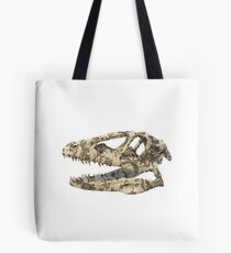 T-rex skull with vintage flowers Tote Bag