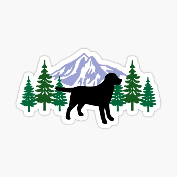 Black Labrador Silhouette Evergreen Sticker